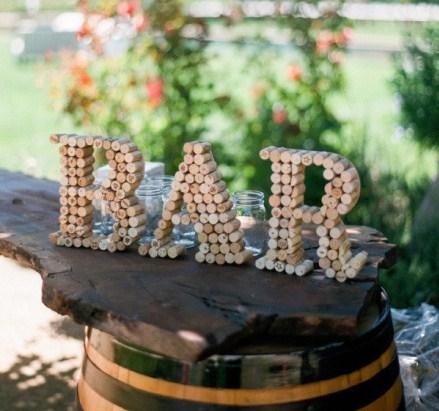 una forma original de hacer un cartelito para un evento o si conoces alguien muy aficionado al vino hacerle la inicial de su nombre