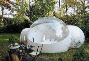 tienda de campaña transparente forma de burbuja