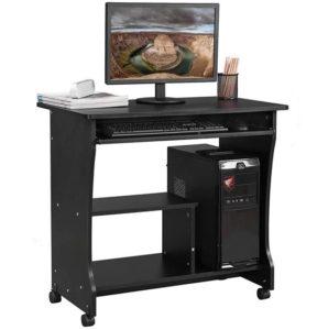 comprar mesa para ordenador negra con ruedas precio barato online