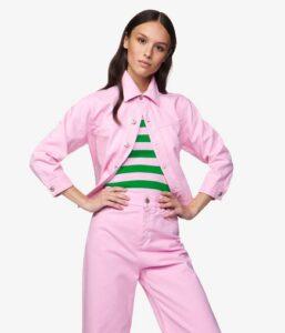 comprar cazadora mujer benetton rosa precio barato online